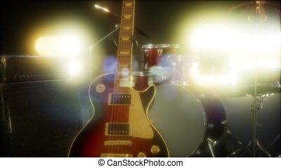 onderworpen, gitaar, toneel, de uitrusting van de trommel,...