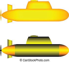 onderzeeërs, twee, gele