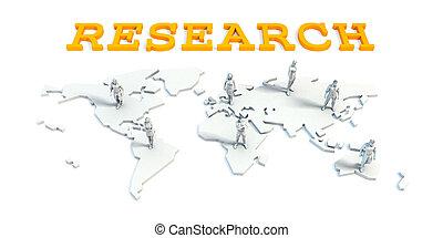 onderzoek, concept, met, handel team