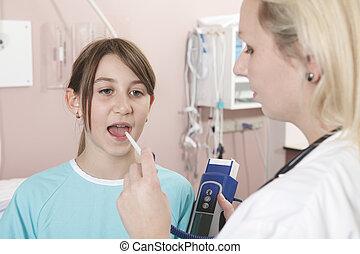 onderzoek, weinig; niet zo(veel), arts, wezen, -, onderzochte, w, meisje, vrolijke