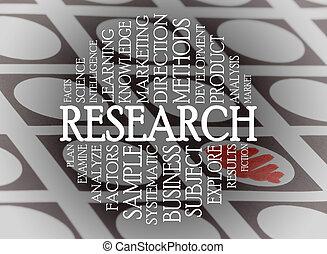 onderzoek, wolk, concept