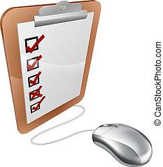 onderzoeken; inspecteren;, online, muis, internet