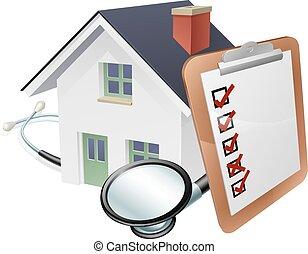 onderzoeken; inspecteren;, woning, concept, stethoscope, klembord
