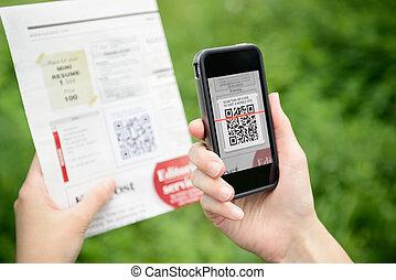 onderzoeken nauwkeurig, code, mobiele telefoon, qr, reclame