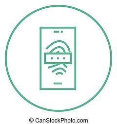 onderzoeken nauwkeurig, mobiele telefoon, vingerafdruk, lijn, icon.
