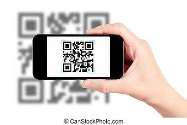 onderzoeken nauwkeurig, qr, code, met, mobiele telefoon