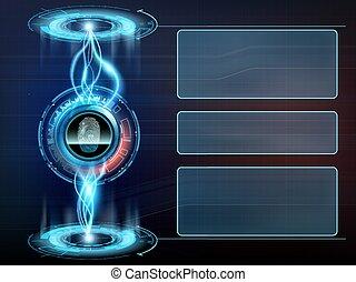 onderzoeken nauwkeurig, scherm, vingerafdruk, gebruiker, interface., transparant, futuristisch