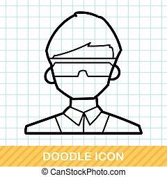 onderzoeker, doodle