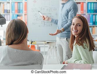 onderzoeker, geven, een, lezing, om te, de, scholieren