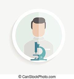onderzoeker, papier, succesvolle , vector, pictogram, ronde,...