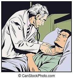 onderzoekt, illustration., arts, bejaarden, man., liggen