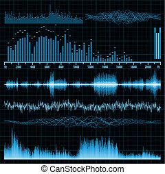 ondes sonores, set., musique, arrière-plan., eps, 8