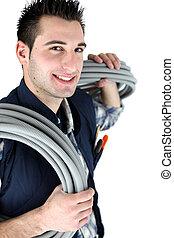 ondulé, électricien, tenu, câblage