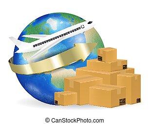 ondulé, boîte, autour de, expédition, mondiale, avion, carton