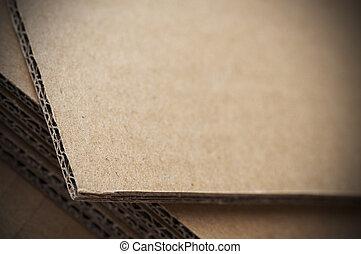 ondulé, brun, feuille, haut, effet, barbouillage, fin, carton