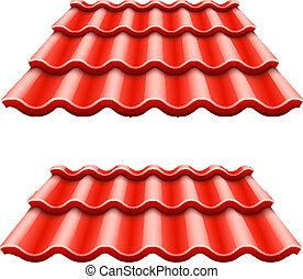 ondulé, carreau, rouges, toit, élément
