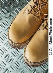 ondulé, feuille, imperméable, métal, bottes, sécurité