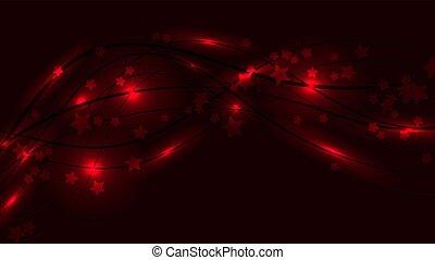 ondulé, fond, espace, lumière, résumé, lignes, raies, illustration, éclats (flares), vecteur, arrière-plan., étoiles, asterisks., rouges