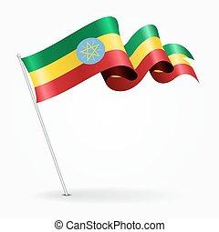 ondulé, illustration., épingle, flag., éthiopien, vecteur
