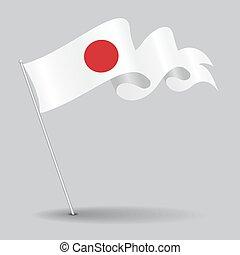 ondulé, illustration., épingle, flag., japonaise, vecteur