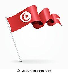 ondulé, illustration., épingle, flag., tunisien, vecteur