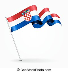 ondulé, illustration., épingle, flag., vecteur, croate