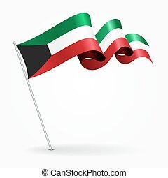 ondulé, illustration., épingle, koweït, vecteur, flag.