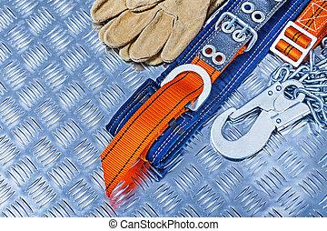 ondulé, metall, gants, construction, harnais, outils, ...