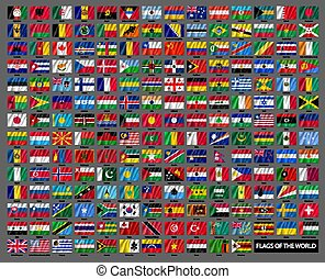 ondulé, mondial, national, drapeaux, ensemble