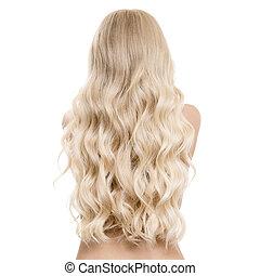 ondulé, portrait, long, dos, blonds, isolé, jeune, belle femme, hair., vue.