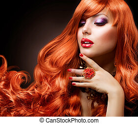 ondulé, rouges, hair., mode, girl, portrait