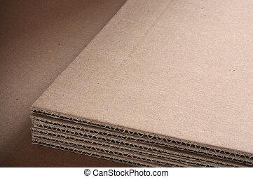 ondulé, texte, carton, salle, feuilles