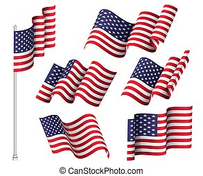 ondulé, uni, usa, national, six, etats, ensemble, patriotique, flags., symbole