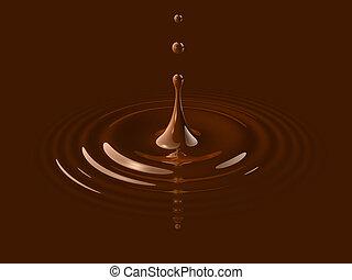 ondulação, gota, líquido, chocolate