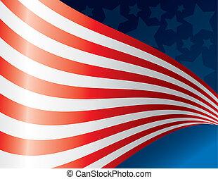 ondulación, bandera estadounidense, espalda