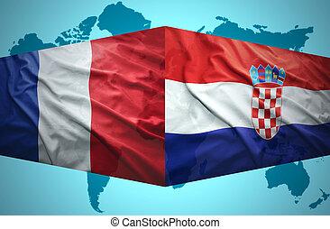 ondulación, banderas, francés, croata