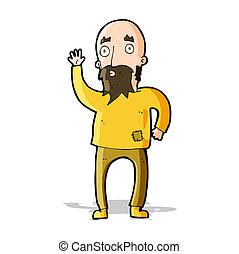 ondulación, barbudo, caricatura, hombre
