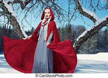 ondulación, capucha, capa, rojo