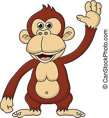 ondulación, caricatura, chimpancé, mano