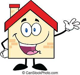 ondulación, casa, saludo, feliz