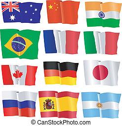 ondulación, conjunto, banderas