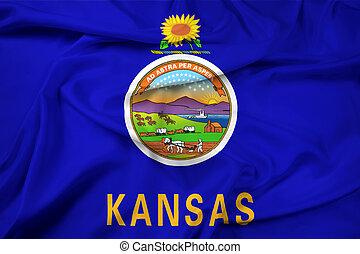 ondulación, estado, bandera de kansas