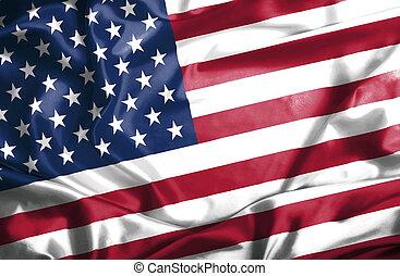 ondulación, estados, bandera, unido, américa