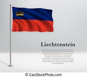 ondulación, flagpole., bandera, día, liechtenstein, ...