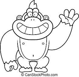 ondulación, gorila, caricatura