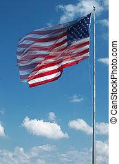 ondulación, grande, bandera, norteamericano, viento