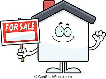ondulación, hogar, caricatura, venta