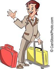 ondulación, hombre de negocios, vector, goodbye., equipaje