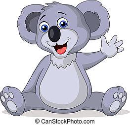 ondulación, lindo, koala, caricatura, mano