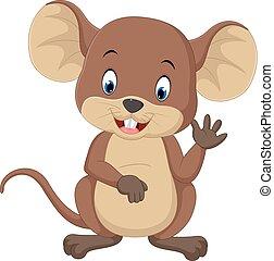 ondulación, lindo, ratón, caricatura
